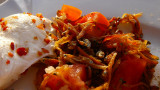 dried fish, egg & tomato