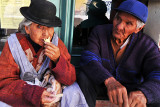 Old couple enjoying ice cream on the streets of Potosi