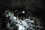 Crawling through some of the mines passage ways. The sharp rocks are hard on the knees.
