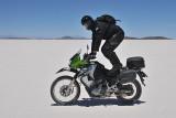 Motorcycling on the Salar de Uyuni