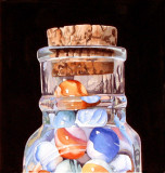 accepted into juried Aquarius show, Marbles in a Bottle.jpg