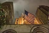 New York sky with flag