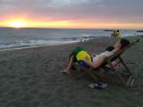 Enjoying the sunset on Las Peñitas beach