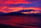 Kanaapali beach with Lanai as the last light fades, Sunset, Maui, Hawaii, USA