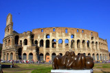 The Colloseum blends with new art, Rome, Italy