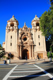 The Casa del Prado Theater, with Churrigueresque ornamentation framing the entrance, Balboa Park, San Diego