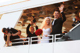 A bride, groom and 3 wedding photographers in Kemah