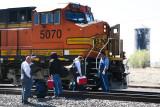 Crew Change BNSF 5070 WB w-GREX Ballast Train Seligman-AZ-4630.jpg
