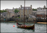 Old Viking style boat in Lerwick harbour