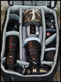 Think-Tank Airport-Addicted with 180/3,5L, 300/2,8L IS,  Eos-5D Mk2 + 24-70/2,8L, Eos-50D, Angle-finder, & 100/2,8 makro