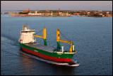 Södras ship Timbus passing Kalmar and Öland bridge short after sunrise