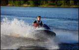 Driving waterscooter at lake Helgasjön  - Växjö