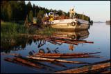 Collecting timber for transportation on Lake Pihjalavesi - Finland