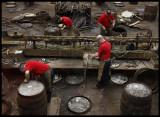 Fixing old barrels at Speyside Cooperage