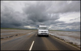 Driving the causway to Lindisfarne at low tide - England