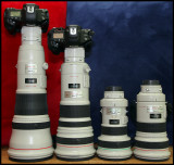 My big lenses from Canon 2010 - 800/5,6 (4.500g), 500/4 (3870g), 400/4 (1940g) & 300/2,8 (2550g)