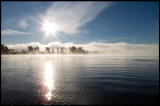 Sandsbro in early morning mist seen from my boatplace