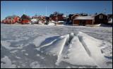 The frozen harbour at Kuggören