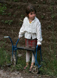 Girl with bicykle in Yeghegnadzor