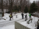 5BBC riders hoofing it up the hill out of the Greenbrook Sanctuary
