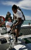 Jorge hoists the sail