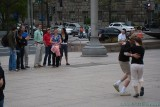 Random passers-by watching the crazy people dance