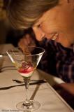 8. Eskta cocktail cremé på flinga- chutney på älggräs, wisky, morot, smulor på prima blå, rapsolja.