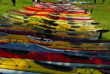 En färgglag rad av kajaker.