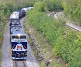 NS 111 creeping around the curve near SJ Tower, following 179 into Danville