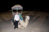 Nancy Crays with Camel at Desert Dinner, Dhahran