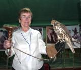 Nancy Crays Holding Falcon at Desert Dinner, Dhahran