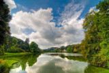 Lake, clouds and Pantheon, Stourhead