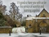 'It's good to have you with us' slide from the Martock in the Snow series