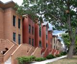 A row of modern-day row houses
