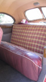 The upholstery is original, so we put vintage seat covers on it.