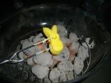 over hot coals w/ flash