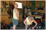 My wife and my brother fixing bikes