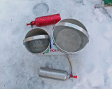 Winter Kitchen With Sigg Pots  ,License Plate And MSR Firefly/Model G Stoves