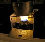 Lowly Sterno Stove With Old Sigg  Alcohol  Burner  Works Great!!