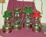 Four great Coleman Lanterns