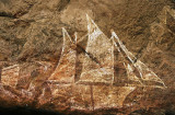 European contact recorded in rock art, Ubirr Rock, Kakadu