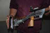 Ian made the aluminium stock and the Kauri woodwork for this target rifle. You need to see the quality for yourself