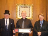 The Beadle and Clerk flank me after the Freedom Ceremony at the Guildhall