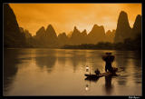 Cormorant fisherman at sunrise, Guilin area