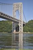 George Washington Bridge with Work Barge