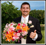 Best Man Approves Holding Bride's Bouquet