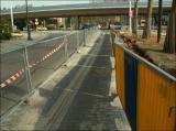 3/5/2006 - Déviation de la piste cyclable au bd. du Souverain, venant de Boitsfort, attention au rails !