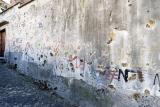 mostar, bullet holes and graffiti