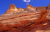 Veins filled with resistant gypsum create thin layers, North Coyote Buttes AZ.