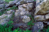 (SG39) Detail of fault boundary showing limestone block incorporated within mylonite, Bennington, VT
